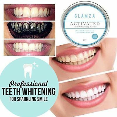 Glamza Organic Activated Charcoal Tooth Teeth Whitening Powder Paste Big Natural