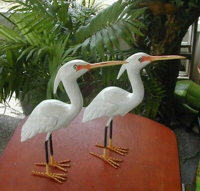 "New This Year  Pair Of 10"" Tall Hand Carved & Painted  Florida White Egrets"
