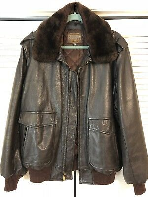 Vintage Europa Sport Leather Bomber Jacket Brown Size 46