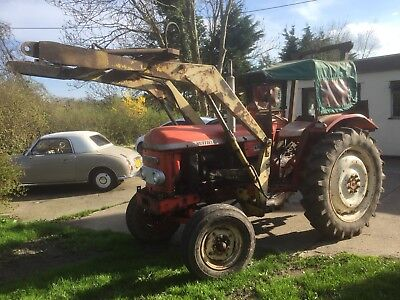 1968 NUFFIELD 4/65 TRACTOR WITH FRONT LOADER,SAFETY CAB,BUCKET,3xIMPLEMENTS & V5