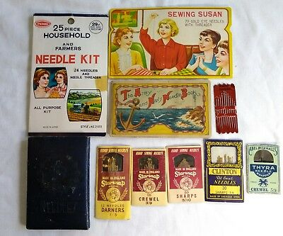 Vintage Antique Sewing Needles Lot Household Farmers Gold Eye