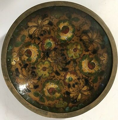 """Vintage Miniature Small Chinese Cloisonne Flower Floral Plate 4"""""""