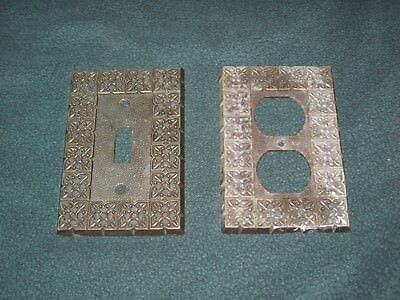 Vintage Light Switch & Outlet Cover Plate Antique Brass Finish - National Lock
