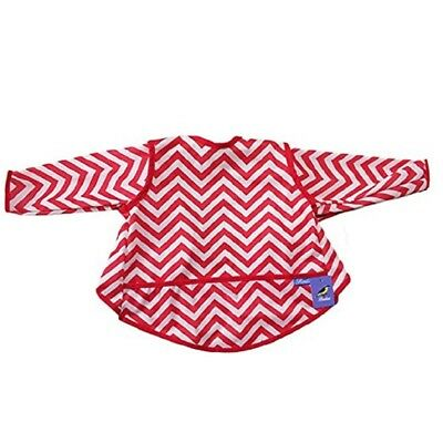 Waterproof Long Sleeved Bib With Pocket, For Infant And Toddler Gray And Red.