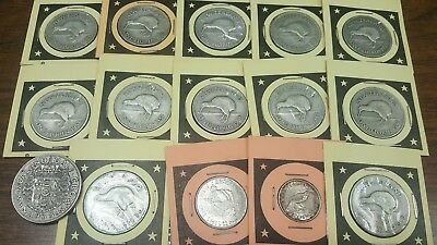 15 TOTAL SILVER NEW ZEALAND FLORIN + Half Crown + Shilling*****