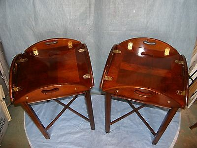 Two Butler Tray Side Tables with Removeable Trays, Protective  Glass Included