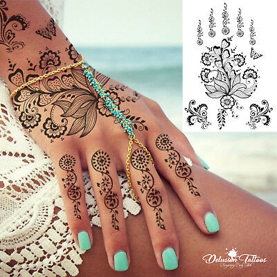 Black Henna Temporary Tattoo Daisies Flowers Lace Hand Foot