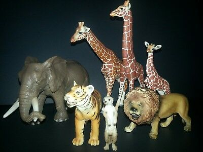 Schleich African Animals lot of 7 Giraffe family Elephant Lion Tiger Meer cat