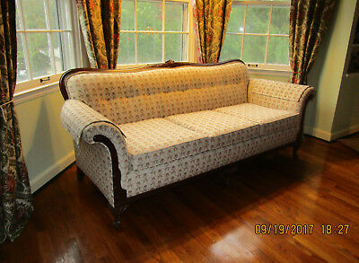 Vintage Victorian Couch/Sofa Newly Upholstered in Brocade