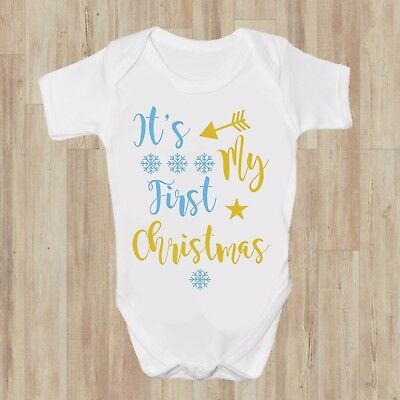 Its my First Christmas Blue Gold Xmas BABY GROW BODYSUIT VEST GIFT BABY SHOWER