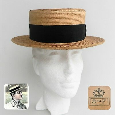 d7c46463382 ANTIQUE 1900 S MENS Straw Boater Hat G and F label sz7 1 8- 22 ...