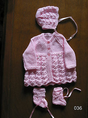 Baby Pink matinee set new 0-3 months coat bonnet boots hand knitted james brett.