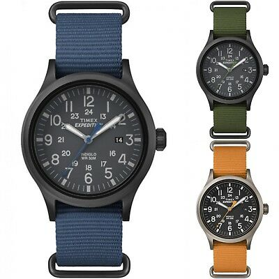 Expedition Outdoor Watch   Men's Nylon Strap Black Dial 24 HR Indiglo   Timex