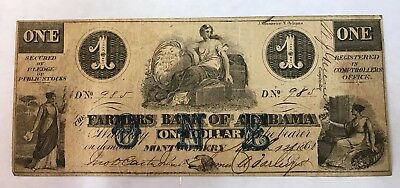 Farmers Bank of Alabama - $1.00 - March 1, 1862 - # F60 - Montgomery - Obsolete