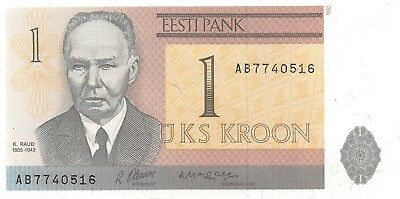 Estonia 1 Kroon, 1992 Almost Uncirculated AU/Unc, NR