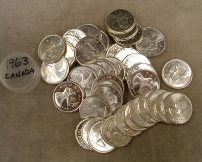1 Roll 1963 Canada Quarters / 80% Silver - $10 Face Value / Circulated