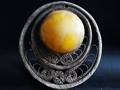 Ancient Viking Silver Amulet. Norse Amber Stone Lunar Symbol, c 950-1000 Ad.