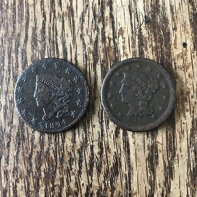 1824 and 1855 LARGE CENT COIN lot
