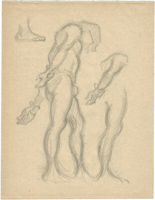 1914 Page from the school album of RUSSIAN ARTIST M.A.Markov NUDE MALE #2