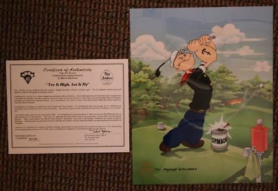 """S/O Popeye """"Tee It High and Let it Fly"""" Sericel SIGNED MYRON WALDMAN Golf"""