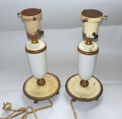 Shabby Chic Lamps, White Glass And Metal, Pair, Vintage (C 1930-1940)