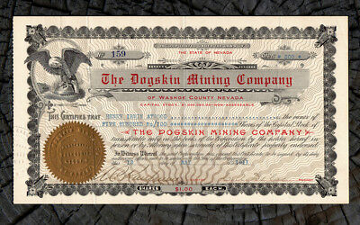 1911 Dogskin Mining Company Stock Certificate WASHOE NEVADA Dogskin Mountains