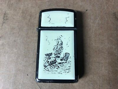Zippo C Viii Whale Whaling Sailing Ship Lighter Scrimshaw