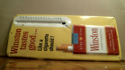 COLLECTIBLE Winston Tin Thermometer Sign, Missing Glass Tube, 13.5 x 5.75""