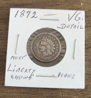 Key Date 1872 Bronze.indian Head Cent Penny Lot.(Vg.detail)