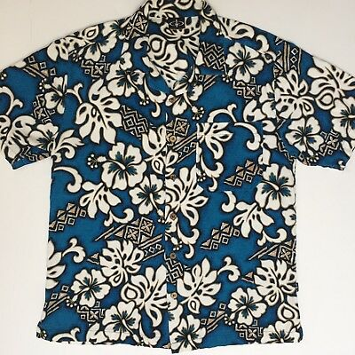Triple Crown of Surfing Barkcloth Hawaiian Shirt Turquoise Floral Print Size M