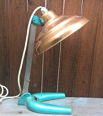 Vintage Industrial Rayvue Work Bench Lamp Workshop Table Light Copper Shade