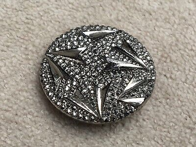 Gorgeous Antique Silver Luster Black Glass Button Victorian Era 1-1/16""
