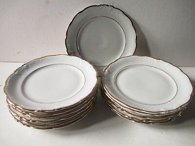 12 vintage Walbrzych china salad small plates, gold rim, made in Poland, set