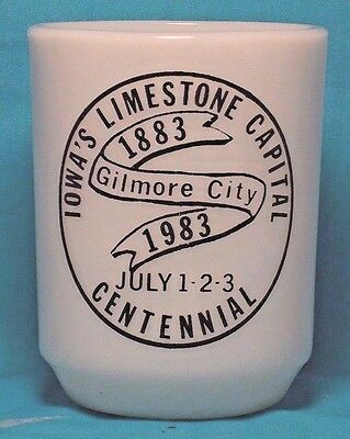 GILMORE CITY Iowa's Limestone Capital 1983 Anchor Hocking / FIRE KING Coffee CUP