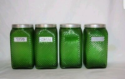 Vtg Diagonial Rib Owens Illinois Glass Hoosier Spice Canisters & Lid Set of 4