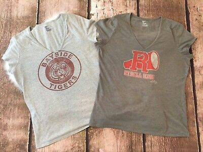 Gap Bayside Tigers & Rydell High V-Neck T-Shirts XL Saved By Bell Grease