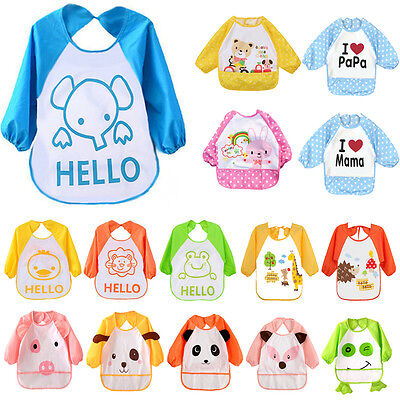 Children Baby Toddler Long Sleeve Feeding Art Smock Bib Apron Clothes Boys Girls