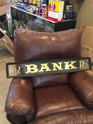 Vintage Reverse Painted Bank Sign