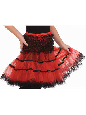 "Childs 15"" Red and Black Costume Crinoline Petticoat Tutu Under Skirt"