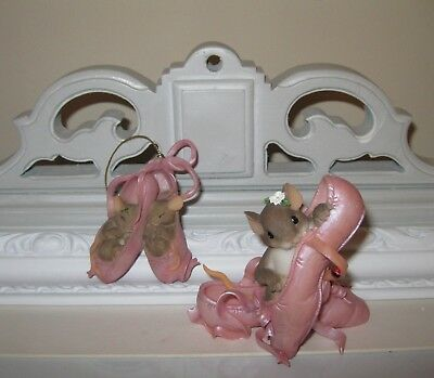 Charming Tails - Set of 2 Ballerina Slippers Mouse Figure & Ornament