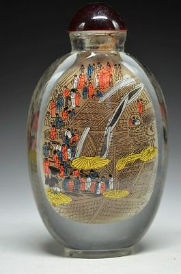 Rare China Hand drawing glaze Ancient Bustling street market Snuff bottle tz09