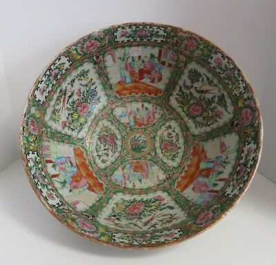 Antique Chinese Canton for Export Hand Painted Porcelain Gilt Rose Famille Bowl.