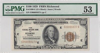 1929 $100 Hundred Dollar Bill FRBN Richmond, VA Fr. 1890-E Low Serial Number