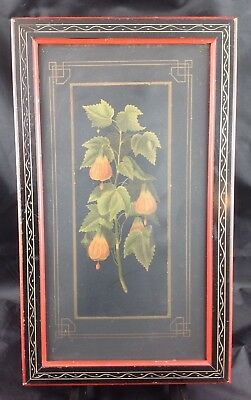 Antique Eastlake Aesthetic Victorian Japan Lantern Flower Lithograph Frame Print