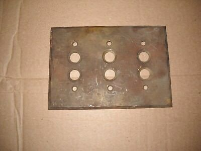 Antique PERKINS Three Gang Brass Push Button Switch Plate Cover Machined 1903