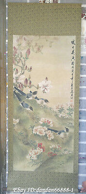 Collect China hanging draw Hand-painted flowers bird calligraphy scroll painting