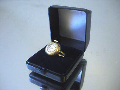 Vintage Bucherer Gold Plated Ring Watch with Case 17 Jewels
