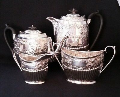 Vintage Silver Plated Ornate 4 Piece Tea Service