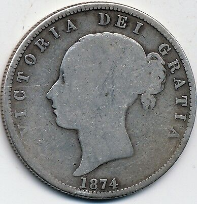 1874 Circulated, Great Britain, Silver 1/2 Crown, Km #756