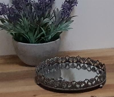 BEAUTIFUL Ornate SILVER Mirrored PERFUME Jewellery TRAY Vanity French CANDLES